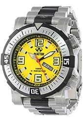 REACTOR Men's 55507 Poseidon 1000 meter Dual Rotating Bezel Yellow and Black Dial Watch