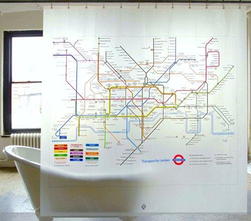 ロンドン 地下鉄 マップ おしゃれ シャワー カーテン 間仕切り インテリア(カーテンリング12ピース付き)