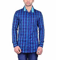 Cotblend Men's Casual Shirt (COTBLEBD7-M, Blue, M)