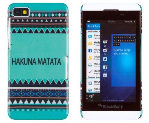 Hakuna Matata Mint Aztec Print Hard Case For Blackberry Z10 + Dandycase Keychain Screen Cleaner [Retail Packaging By Dandycase]