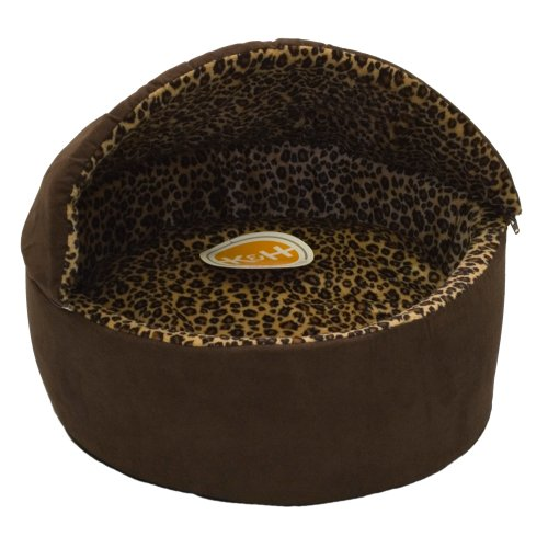 K&H Thermo-Kitty Deluxe Hooded Cat Bed, Large 20-Inch, 4-Watts, Mocha Leopard