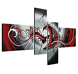 Wieco Art - Modern 4 Panels Abstract Stretched and Framed Artwork 100% Hand Painted Contemporary Oil Paintings on Canvas Wall Art Ready to Hang for Living Room Bedroom Home Decorations