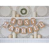 Amazon.co.jpLumierechat JUST MARRIED パーティー用 ガーランド ウエディング 結婚式 撮影 アイテム ベージュ