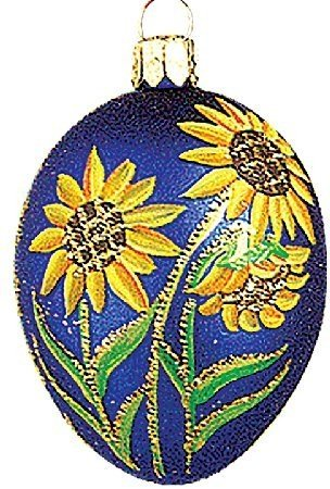 Blue Easter Egg with Flowers Polish Glass Christmas Ornament