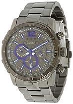 Guess U17529G1 chrono gunmetal dial stainless steel bracelet men watch NEW