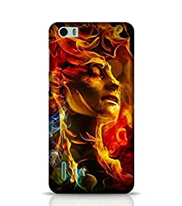 Huawei Honor 6 Phone Case for Illustration Of Woman'S Face Made With Fire Back Cover for Honor 6 Multicolor