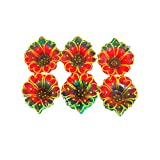 Word Tree Decorated Diwali Diyas, Vibrantly Hand Painted, Multi Coloured- Set Of 6 - Combo 16