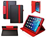 Ionic 2-Tone Designer Leather Apple iPad 5 iPad Air Case Cover with stand (Black/ Red)