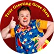 """Mr Tumble [P2150] 7.5"""" Circular Edible Cake Topper made with real icing and printed with your custom greeting [Please use the SEND AS A GIFT facility on the checkout page to tell us the text of your greeting.] and with FREE UK shipping"""