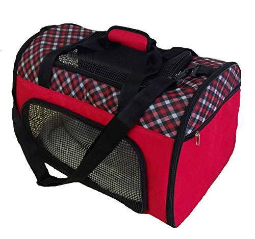 Pet Carrier Airline Approved For Dogs and Cats up to 20lbs by Magnolia Pets. Best Alternative To Crate or Cage, This Safe Soft-Sided Canvas Bag Includes Mesh Windows For Air (Plaid, Red).