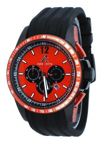 Adee Kaye #AK7141-MIPB4 Men's Black IP Polyurethane Strap Chronograph Watch