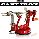 CAST IRON APPLE PEELER By Purelite ? Professional Grade Durable Heavy Duty Cast Iron Apple Slicing Coring And...