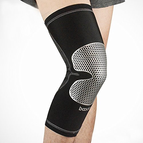 Ezyoutdoor Breathable Lycra Knee Compression Sleeve Support for Running Jogging Sports Joint Pain Relief Arthritis and Injury Recovery (Gray, (How To Wear Thigh High Boots)