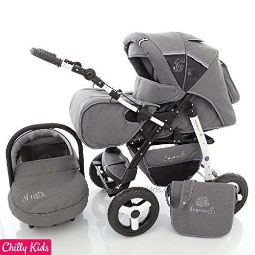 Chilly Kids Jaguar 3 in 1 pram system pushchair with car seat (rain cover, mosquito net, 07 colors)