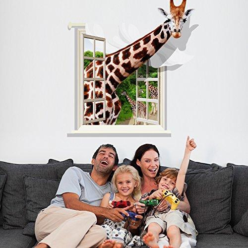 3D stereo Wall stickers giraffa adesivo parete Idee decorazione murale salotto divano letto adesivi autoadesivi,75*80cm