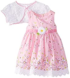 Youngland Baby-Girls Newborn Floral Print Dress with Lace Shrug, Pink/White, 3-6 Months