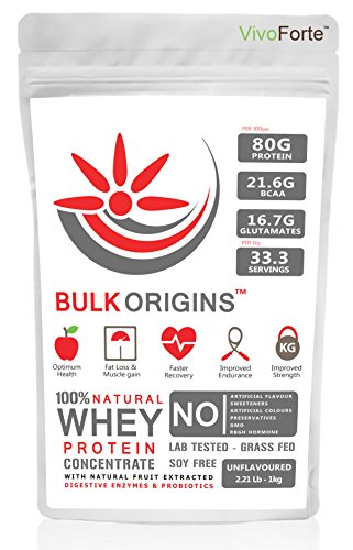 Bulk Origins - Pure 100% Whey Protein, Fortified ( Digestive Enzymes + Probiotics ), Concentrate - 1kg (2.21lbs) 33 Servings, Unflavoured
