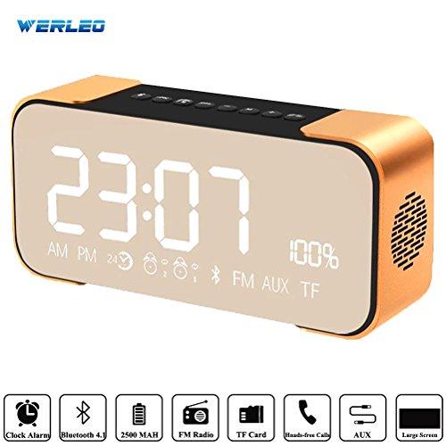 Bluetooth Speakers,Werleo Hi-Fi Portable Wireless Stereo Speaker with Alarm Clock,Build-in Mic,FM Radio,LED Light,Hands-free,Two Subwoofer Enhanced Bass Surround Sound for iPhone Samsung Mac Computer (Light Up Car Amplifier compare prices)