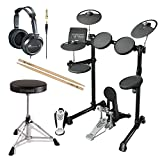 Yamaha DTX450K Electronic Drum Kit with Yamaha Drum Throne, FIRTH5A Drumsticks and JVC Full Size Headphones