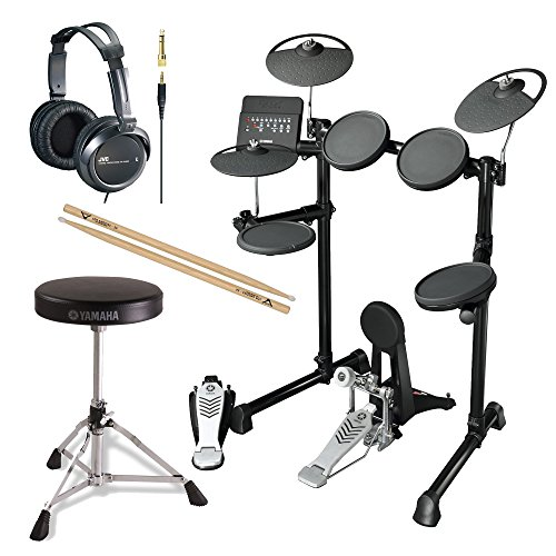 Yamaha DTX450K Electronic Drum Kit with Yamaha Drum Throne, FIRTH5A Drumsticks and JVC Full Size Headphones (Electric Drums Yamaha compare prices)