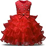 NNJXD Girl Dress Kids Ruffles Lace Party Wedding Dresses Size 5-6 Years Red(130)