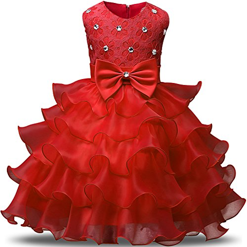 NNJXD Girl Dress Kids Ruffles Lace Party Wedding Dresses Size 4-5 Years Red(120)