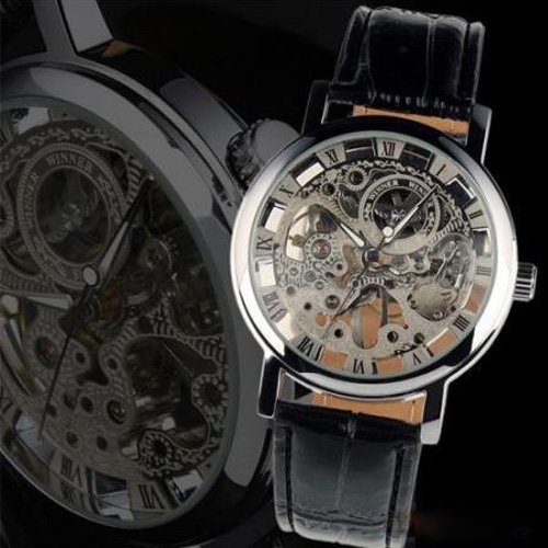 Metro Shop Winner Transparent Skeleton Mechanical Watch With Round Dial-Silvery