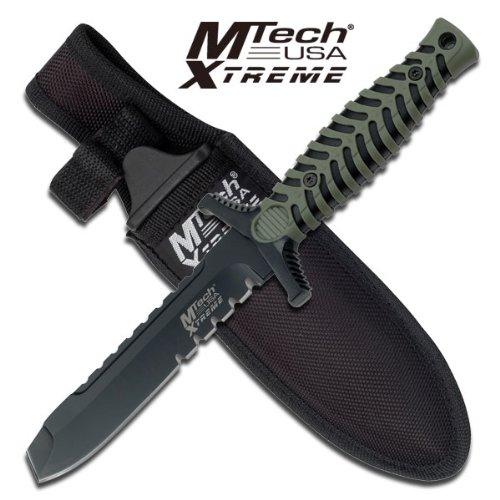 "Mx-8089Bgt M Tech Xtreme J32W48 Tactical Fixed Blade Rcykzg Boot Knife 7.5 "" Overall Ayeuiu56 Hlbv23Rt Fixed Blade Knife7.5"" Lotpe Overall5"" Black Blade4.25Mm Thickness Half Serration Blunt Point Blade4.5"" Black And Green Yf7Qsgkizt Rubber Handleincludes"