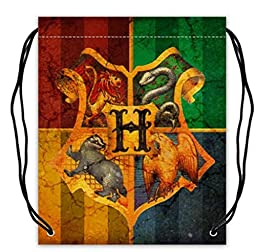 Polyester Fabric Basketball Drawstring Bags Drawstring Tote Harry Potter Hogwarts School of Witchcraft and Wizardry Sign Print.