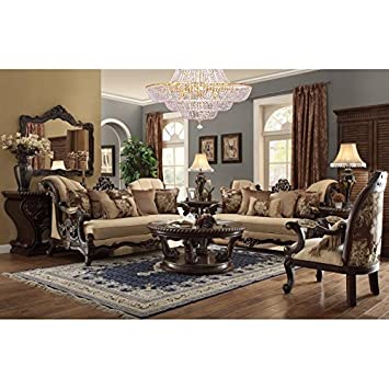 Homey Design- HD357 Victorian Dark Brown Wood Finish With Light Brown Fabric Upholstery And Decorative Wood Trims