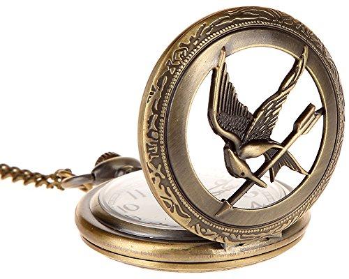 Surwin Steampunk, Orologio da taschino con numeri romani, Half Hunter, misura grande, Hunger Game, con uccello, catena lunga, confezione regalo
