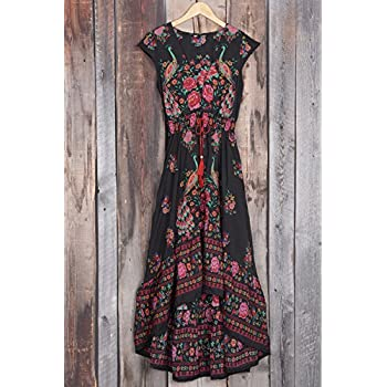 Cupshe Fashion Women's Vintage Printing Plunging High Low Maxi Dress