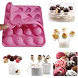 Rbenxia Silicone Cake Mold 20-cavity Half Circle Lollypop Party Cupcake Baking Mold Cake Pop Stick Mold Tray Pink