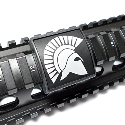 Ultimate Arms Gear Trojan Spartan Side Hemlet Logo Symbol Crest Black & White Laser Engraved Aluminum Custom Cover Guard Rail, Small, USA MADE (Rail Covers Custom compare prices)