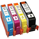 Compatible HP 364XL ink Cartridges for HP Photosmart B8550, B8553, B8558, C6380, C6383, C5324, C5383, C5380, C6324, C5390, C5393, C5388, C5370, C5373, D5468, D5463, D5460, D7560, 5510, 5511, 5512, 5514, 5515, 5520, 5522, 5524, 6510, 6512, 6515, 6520, 7510, 7515, 7520, B010a, B110a, B110c, B110e, B111a, Photosmart Wireless B109a, B109d, B109f, B109n, Photosmart Plus B209a, B209c, B210a, B210c, B210d, Photosmart Premium C309a, C309n, C309g, C310a, C310b, C310c, C410b, Photosmart estation C510a, C510c, Deskjet 3070A, 3520, 3522, 3524, Officejet 4620 Printers - Combo Pack (1x Large Black, 1x Yellow, 1x Cyan, 1x Magenta) (1 Set (4 Pack)