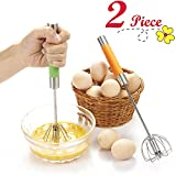 """Chefaith 2-Pcs 12"""" Stainless Steel Hand Push Whisk [Self Rotating] [Semi-Automatic] - Premium Quality Kitchen Whisk Set, Bulletproof Coffee, Lattes, Versatile Egg Beater, Milk Frother, Blender, Mixer"""