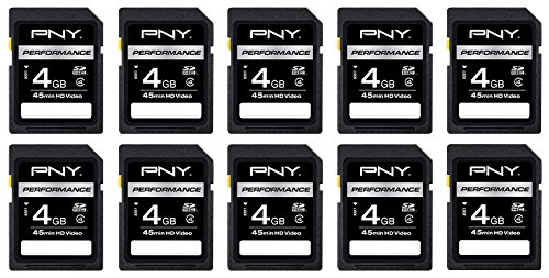 PNY 4GB Class 4 SDHC Memory Card 10-pack (P-SDHC4G4HX10-AZ) (Sd Card Multi Pack compare prices)