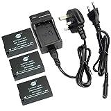 DSTE® (3-pack) Replacement Battery + Charger DC115U for Panasonic DMW-BLD10, DMW-BLD10E, DMW-BLD10PP, DE-A93B and Panasonic Lumix DMC-G3, DMC-GF2, DMC-GX1