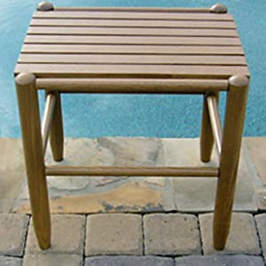 Dixie Seating Dixie Seating Indoor/Outdoor Slat Side Table, Oak Finish, Stained Wood
