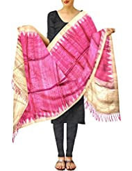 Unnati Silks Women Shades Of Red And Pink Pure Gicha Kadhi Tussar Silk Stole