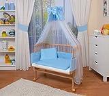 WALDIN Cuna colecho para beb� con equipamiento completo, natural sin tratamiento, 6 colores a elegir,azul