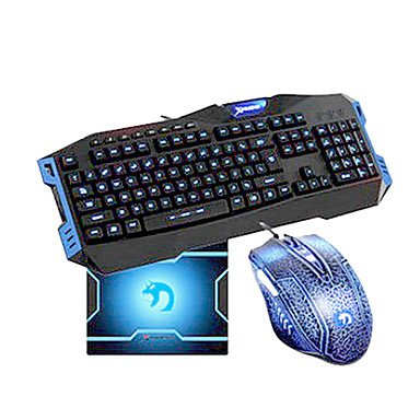 Mch-Usb Wired Super Dazzle Blue Led Optical High-Speed Gaming Keyboard+Mouse Suit