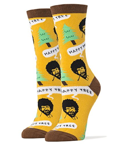 oooh-yeah-womens-luxury-combed-cotton-crew-socks-bob-ross-happy-tree