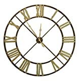 "French Country Large Rusted Iron Roman 48"" D Wall Clock"