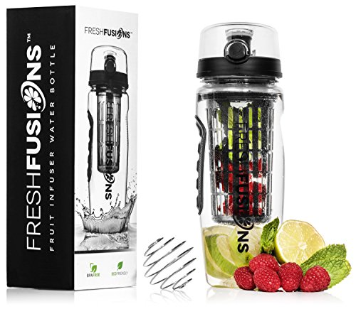 Fresh Fusions Fruit Infuser Bottle Fruit Infused (Black) Water Bottle Fruit Infusion Water Bottle 32oz 32 oz Protein Shaker Bottle Mixer Bottle Protein Mixer Bottle Water Infuser Sports Gift