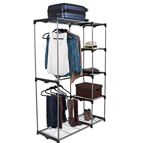 Internets Best Portable Closet Organizer | Double Rod Freestanding Garment Rack | Multiple Shelving and Shoe Rack | Wardrobe Storage