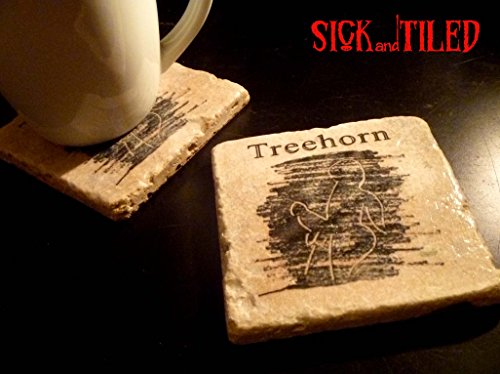 BIG LEBOWSKI Treehorn Tumbled Marble Coaster Set of 2
