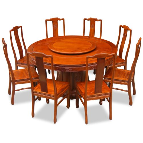Best Price Dining Table And Chairs: 60in Rosewood Round Dining Table With 8 Chairs