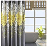 Eforgift Floral Printed Fabric Shower Curtain Polyester Waterproof/ No More Mildews Bathroom Curtains with Free Hooks Yellow/Gray /White (72-inch By 78-inch)