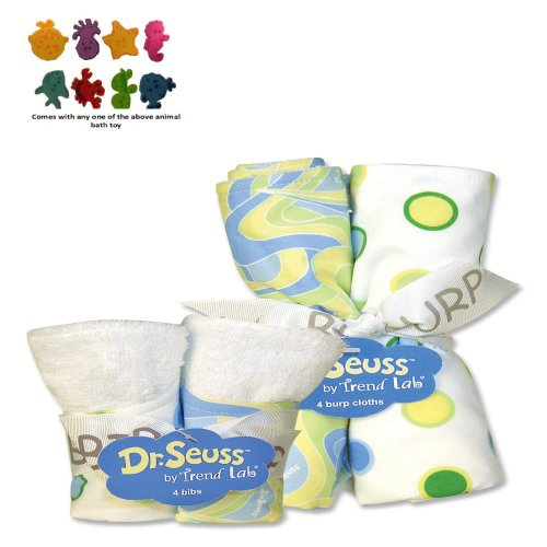 Trend Lab Infant Nursery Newborn Baby Shower Gift Dr. Seuss Blue Oh The Places You'Ll Go Bib And Burp Cloth Bouquet Set front-245814